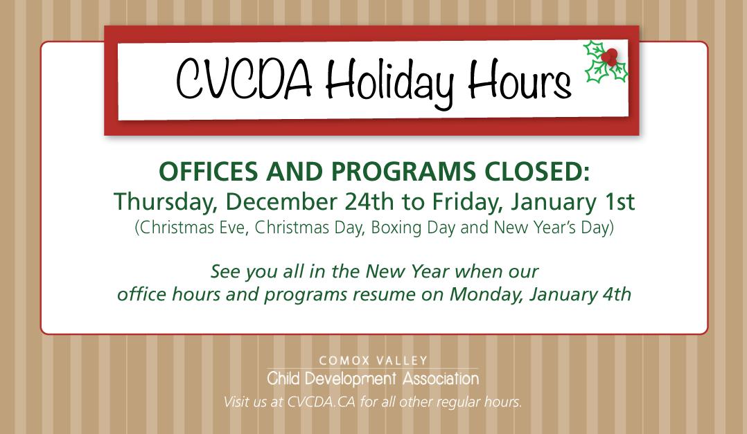 CVCDA 2020 Holiday Hours